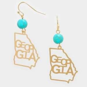 Gold GEORGIA State Map Shaped Turquoise Earrings
